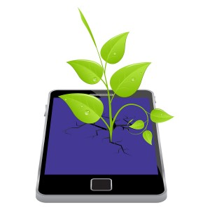 Smartphone with plant