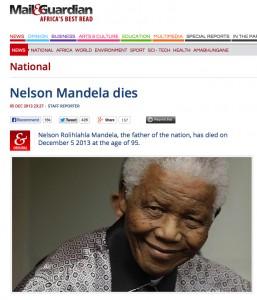 Mandela Dies Headline