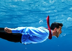 Businessman under water
